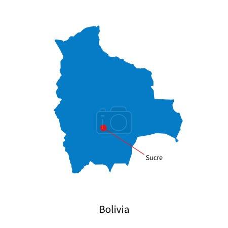 Illustration pour Carte vectorielle détaillée de La Bolivie et la capitale Sucre - image libre de droit