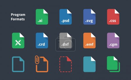 Set of Program File Formats and Labels icons.