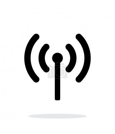 Radio antenna sending signal icon on white background.
