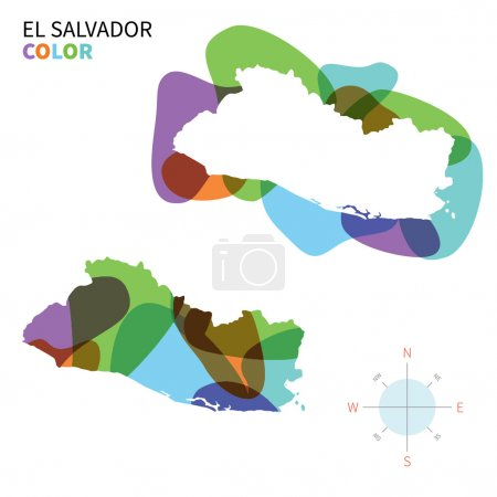 Abstract vector color map of El Salvador with transparent paint effect.