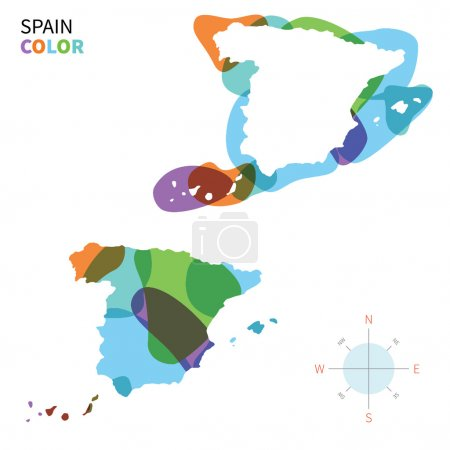 Abstract vector color map of Spain with transparent paint effect.
