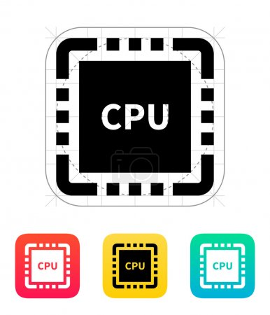 CPU with name icon. Vector illustration.