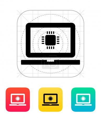 Laptop CPU icon. Vector illustration.