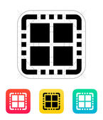 Quad Core CPU icon. Vector illustration.