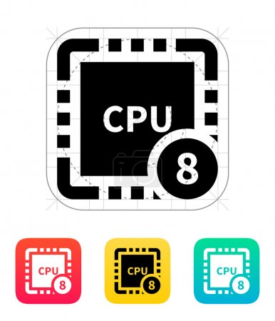 Eight Core CPU icon. Vector illustration.