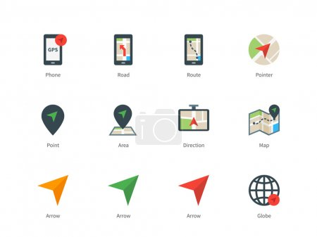 Navigator and GPS color icons on white background.