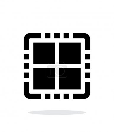 Quad Core CPU simple icon on white background.