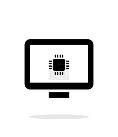 Computer CPU simple icon on white background.