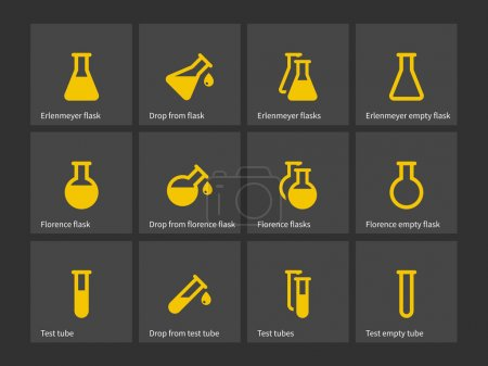 Florence and erlenmeyer flasks icons.