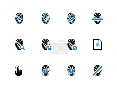 Security fingerprint duotone icons on white. Vecto...