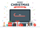 Geek Happy New Year and Christmas Card with abstract loading bar on Desktop computer Gifts candy candle