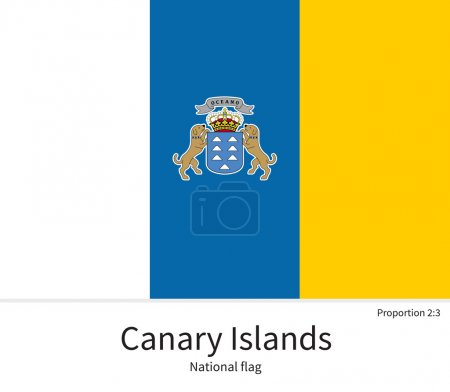 National flag of Canary Islands with correct proportions, element, colors
