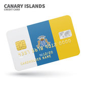 Credit card with Canary Islands flag background for bank presentations and business Isolated on white