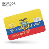 Credit card with Ecuador flag background for bank presentations and business Isolated on white