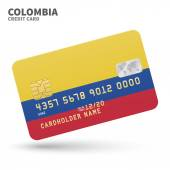 Credit card with Colombia flag background for bank presentations and business Isolated on white
