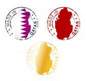 Made in Qatar stamp - ground authentic stamp with country map