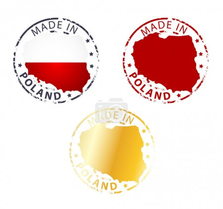 Made in Poland stamp - ground authentic stamp with...