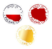 Made in Poland stamp - ground authentic stamp with country map