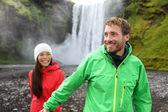 Couple holding hands near waterfall