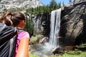 Hiker girl looking at Vernal Fall