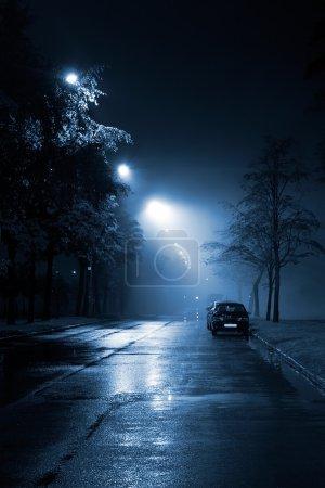 Foggy street at night