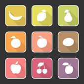 Flat icon set of fruits with long shadow on the square with white stroke