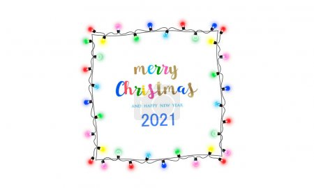Photo for Merry Christmas frame. New Year's element. Light frame for the holidays on a white transparent background. - Royalty Free Image