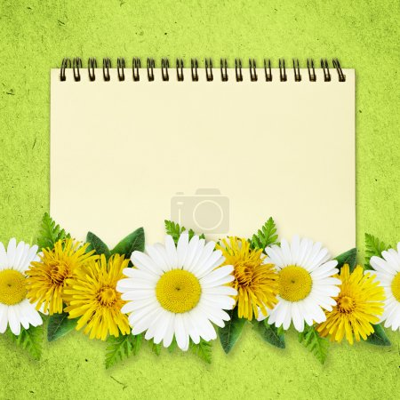 Daisy and dandelion flowers lines and a notepad