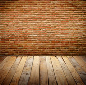 Brickwall with wooden table