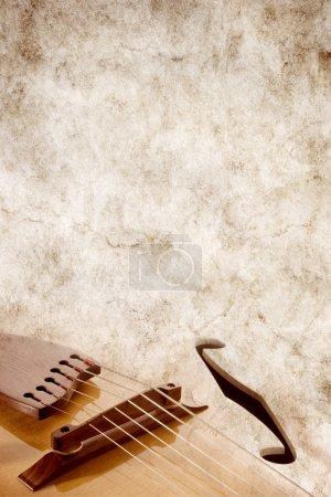 Photo pour Parchemin de musique avec la guitare jazz, arrière-plan - image libre de droit