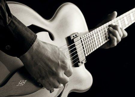 Photo for Playing jazz master guitar vintage image - Royalty Free Image