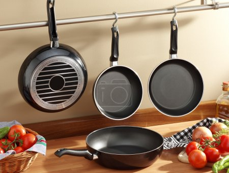 set of black frying pans