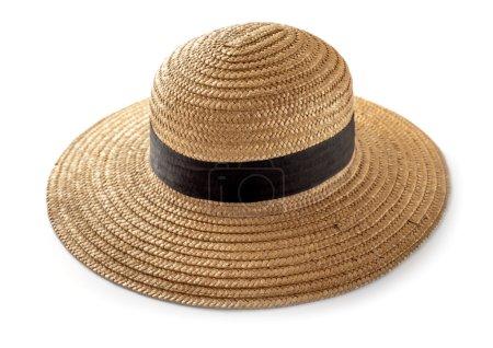 Photo pour Chapeau de paille pour femme, accessoires de plage - image libre de droit