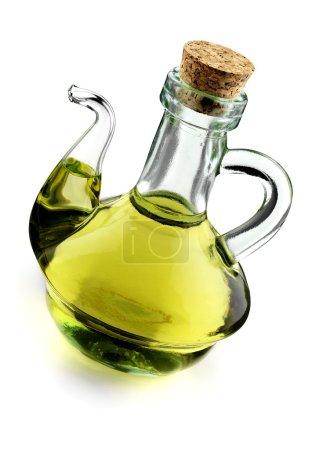 Photo pour Huile d'olive extra vierge, cruette rustique isolée - image libre de droit