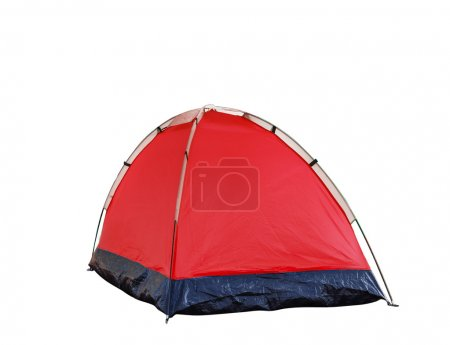 Isolated red dome tent on white