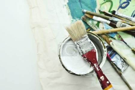 Photo for Workshop of the artist, paints, artist - Royalty Free Image