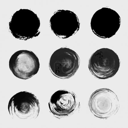 Grunge paint circle vector element set. Brush smea...