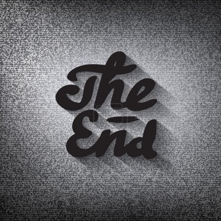 "Old movie ending screen, stylised noir ""The End"" lettering"