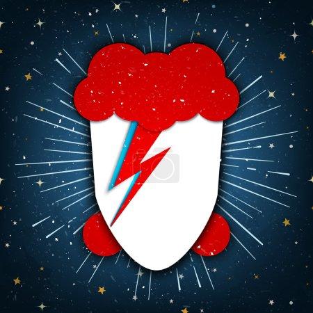 Foto de Estados Unidos, 18 de enero de 2016: Vector de estilo plano ilustración de David Bowie con un perno del relámpago firma pintada en su rostro, en el fondo estrellado, homenaje a David Bowie - Imagen libre de derechos