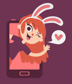 Cute Bunny Lover Girl Showing on Phone Screen