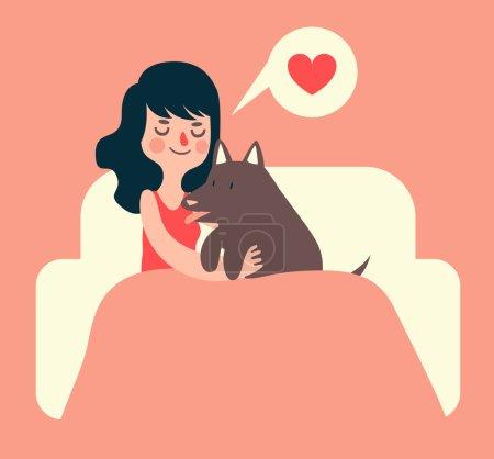 Mädchen und Hund auf der Couch
