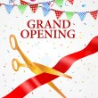 Vector Illustration of Grand opening card with red...