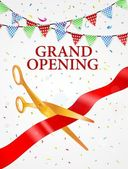 Grand opening card with red ribbon and gold scissors