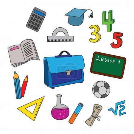 Illustration for Set of school icons. Vector collection of usual scool objects. - Royalty Free Image