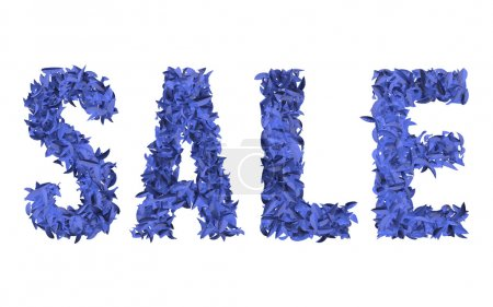Blue sign SALE on the white background