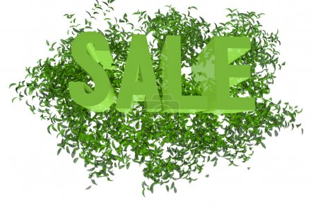Sign SALE on the green leaf background