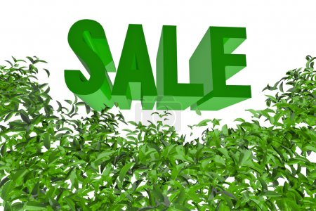 Sign SALE with green leaf