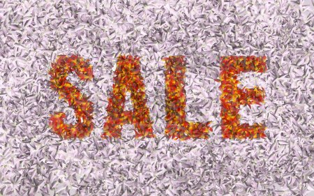 Colored  sign SALE on the pink background