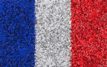 Flag of France collected from leaves