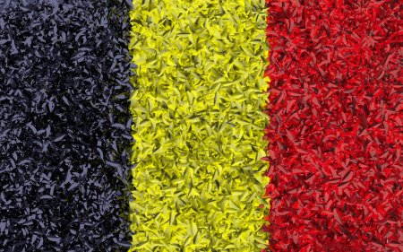 Flag of Belgium collected from leaves